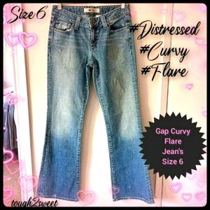 🌷GAP DISTRESSED CURVY FLARE 1969 JEANS🌷SIZE 6🌷